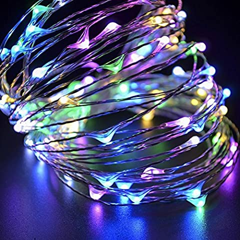 Ambielly 10m di Natale luce della stringa LED, per le vacanze di Natale decorativo 100 LED luci blu luce di Natale rame String Per Natale Wedding Halloween luci leggiadramente della stringa con interfaccia USB (Multicolore)