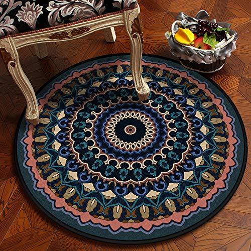 YIWAN Alfombra Redonda Mandala balcón clásico salón decoración Estera DZ28-2 diámetro 100cm