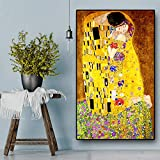 BONAUP Artista Classico Gustav Klimt Bacio Pittura a Olio Astratta su Tela Stampa Poster Arte Moderna Immagini a Parete per Soggiorno