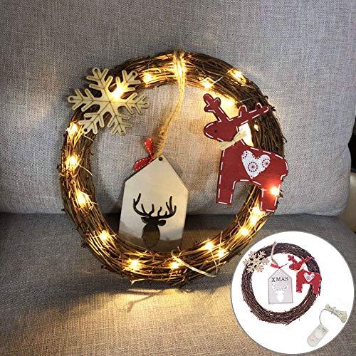 Bodhi2000 Décorations de Sapin de Noël, 20 LED, Couronne de cerf, Flocon de Neige, rotin, décoration de fête, Cadeau de Noël, coloré, Taille Unique
