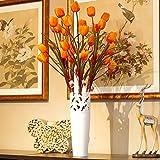 Xin Pang Das Tulip Emulation Blume Silk Blume Künstliche Blumen Blumen Home Decor und Wohnzimmer Bodenvasen, 6 Stäbe Orange-gelbe Tulpen + Gravur Vasen