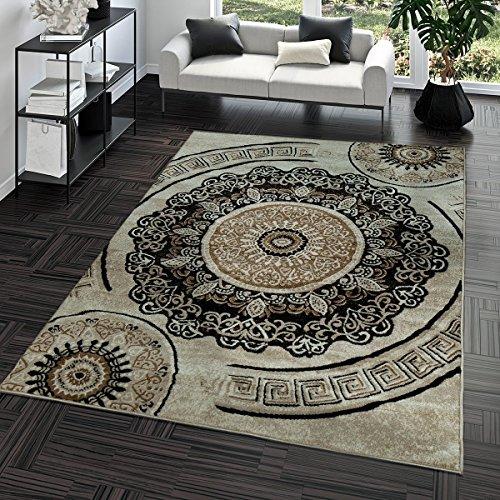 TT Home Kurzflor Teppich Preiswert Pflegeleicht Versace Muster Orient Optik Beige Braun, Größe:80x150 cm