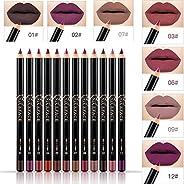 NICEFACE 12 Color Lip Pencil - Soft Waterproof Smooth Lip LinerLipliner Pen