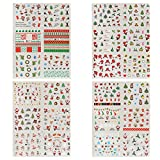 Naler 4 PCS 24 Sheet Noel Autocollants Stickers Nail Art