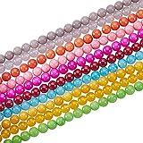 NBEADS 10 filamentos de 8 mm Colores Surtidos Redondos Cuentas de Jade Blanco Cuentas de Abalorios de Piedras Preciosas para la fabricación de la joyería Collar de Bricolaje (48pcs / Strand)