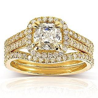 Kobelli  -  14 Kt  Gelbgold Kissenschliff Rundschliff   Feines Weiß/Top Wesselton (G) - Weiß/Wesselton (H) Leicht Getöntes Weiß/Top Crystal (I) Diamant