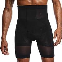 LaLaAreal Mens Compression Shorts High Waist Abdomen Shaper Tighs Pants Underwear Black 3D Pouch Shorts