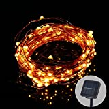 20 Meter 200 LEDs Solar Copper Wire String Lights, 8 Modes, Waterproof Outdoor Starry String Lights For Garden, Patio, Yard, Tree, Wedding Decorations (Warm White)