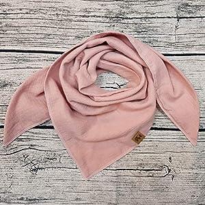 rosa Halstuch Musselintuch Musselin Kinder Kinderhalstuch Baby Junge Mädchen Dreieckstuch Wunschfarbe personalisiert mit Name bestickt handmade Spucktuch Schal Tuch