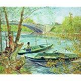 """Impresión artística / Póster: Vincent van Gogh """"Fishing in the Spring. Pont de Clichy, 1887"""" - Impresión de alta calidad, foto, póster artístico, 100x85 cm"""