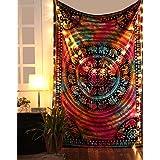 RajRang Cotton Tapestry Luxury Bedsheet Tie Dye Elephant Printed, 85x55-inch (Multicolour)
