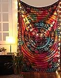 RAJRANG Bunt Wandteppich Elefant Tie Dye Goa Wandtuch Hippie Mandala Tuch Psychedelic Boho Wandbehang Indisch Bohemian Wall Tapestry