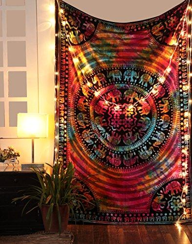 Hippie Elefante Mandala Tie Dye Tapiz De Flores Tapices Decorativos Algodon Boho Arte Mandala Sabanas Bohemio Decor By Rajrang