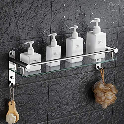 Badezimmerregale? Glasablage mit Handtuchhalter Caddy Ablage für Duschkorb aus Edelstahl (Größe:41cm)