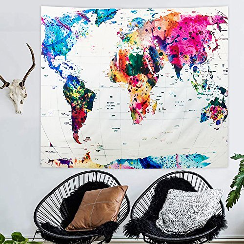 Vintage World Map Tapestry Wall Hanging Indian Tapestries Hippie ...