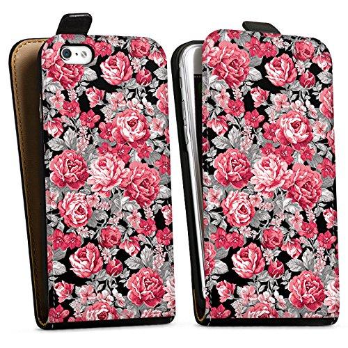 Apple iPhone X Silikon Hülle Case Schutzhülle Blumen Bunt blumenmuster Downflip Tasche schwarz