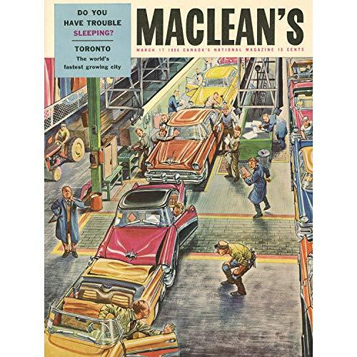 Wee Blue Coo Prints MAGAZINE COVER MACLEANS TORONTO CANADA 1956 CAR CLASSIC 30X40 CMS FINE ART PRINT ART POSTER Cover des Magazins Abdeckung Kanada Klassisch Kunstdruck
