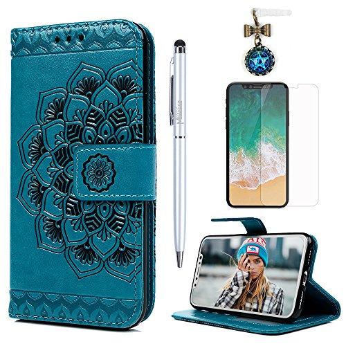 MAXFE.CO Schutzhülle Tasche Case für iPhone X PU Leder Flip Tasche Cover Prägung Halb Blumen Muster im Ständer Book Case / Kartenfach Rose Gold Blau