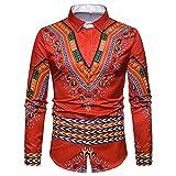 Honestyi Herren Dashiki Herbst Luxus African Print Langarm Dashiki Shirt Top Bluse(Schwarz,Weiß,Blau,Rot,M/L/XL/2XL/3XL)