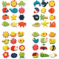 Lakeer Wooden Multi Color Cartoon and Nature Theme Fridge Magnets Pack of 12