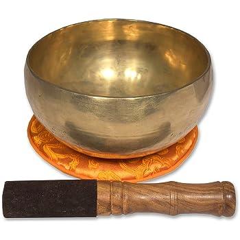 Traditionelle Klangschale handgehämmert aus Nepal, Herzschale, inklusive orangefarbener Unterlage mit Lotusblüte sowie einem Holz-/Lederklöppel -2112-