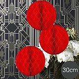 EinsSein 3 x Honeycomb WABENBÄLLE Supreme rot DM 30cm Hochzeit Wedding Wabenball Dekoration Lampion
