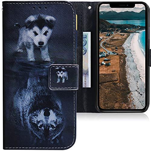 CLM-Tech Cover Compatibile con Apple iPhone 11 (6.1 Pollice), Sintetica Pelle Custodia, Portafoglio con Funzione Supporto e Slots, Cane Lupo Nero Bianco