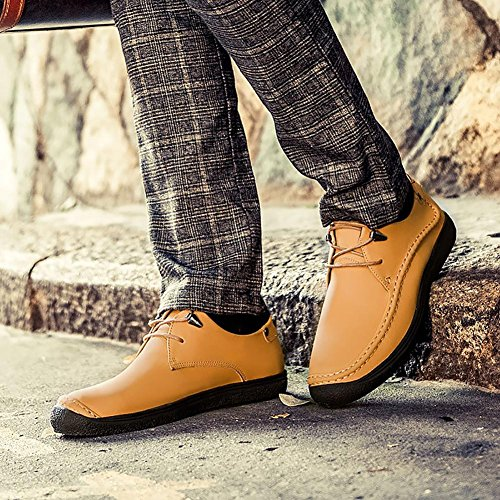 SONGYUNYAN Herren Outdoor-Freizeit Business-Bootsschuh In Wildleder Loafer Yellow