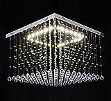 Led Deckenlampe Deckenleuchte Glas-Kristall Strass Tröpfchen Lüster Wohnzimmer Lampe Groß DADI-XL 60x60x40cm