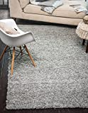 "A2Z Rug ( 60x110 cm ( 2ft x 3ft8"") Silver ) Cozy Shag Collection Solid 5.5 cm Pile Shag Rug Contemporary Living & Bedroom Soft Shaggy Area Rug, Carpet"