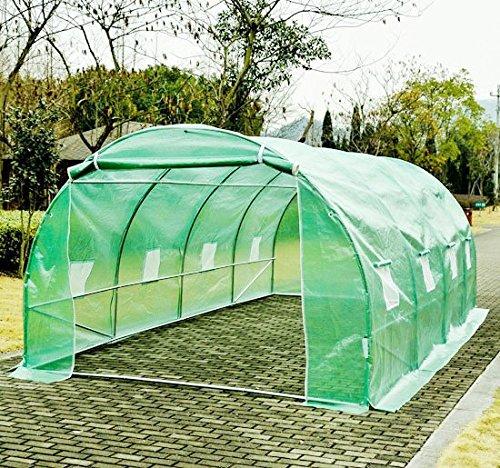 Serre de jardin tente tunnel structure en acier (tubes renforcés, épais de 0,8 mm, diamètre de 25 mm) 8 fenêtres neuf 87