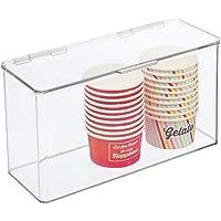 mDesign boîte de rangement avec couvercle – boîte empilable en plastique sans BPA pour placard de cuisine et…