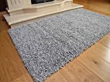 Soft Touch Shaggy Silver Thick Luxurious Soft 5cm Dense Pile Rug. Available in 7 Sizes (80cm x 150cm)