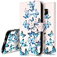 Ukayfe – Funda protectora en piel sintética con estampado de flores y tapa para Galaxy S7 Edge, con protector de silicona antigolpes, soporte y ranuras para tarjetas de crédito