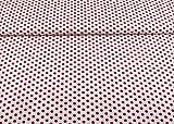 Baumwollstoff gemustert mit roten Punkten 10mm auf weiß