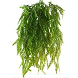 HUAESIN 2 Pcs farnkünstlich kunstpflanzen hängend hängepflanzen künstliche grünpflanze kunststoff pflanzen kunstpflanzen für draussen balkon topf Hochzeit garten deko