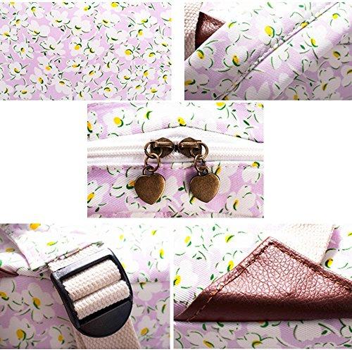 OUFLY Print Blumenrucksack gedruckt Leinwand Rucksack Schulter Satchel Schultasche Daypack Leichte lila Chrysantheme