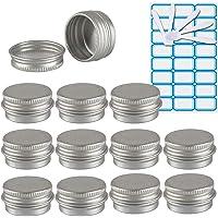 TIANZD 12 Pièces Pots en Aluminium 5 ML Vide Rond Couleur d'argent Cosmétiques Maison Pot Conteneurs for Bougies Crème…