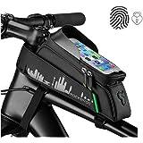 ROCKBROS Cycling Bike Frame Bag Bicycle Phone Holder Waterproof Bike Tube Bag Bike Phone Bag Touch Screen Compatible with iPhone X XS Samsung S9 Huawei Mate30 Pro P30 Pro Bike Phone Bag Mount 6.2 inch