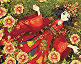 OBELLA Malen nach Zahlen Kits    Blumen Anime Schönheit Anime Classic Beauty Wedding Kleid 50 x 40 cm    Malen nach Zahlen, DIGITAL Ölgemälde (Mit Rahmen)