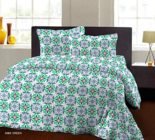 Bombay Dyeing Beeze+ 120 TC Cotton Bedsheet with 2 Pillow Covers - King Size, Green