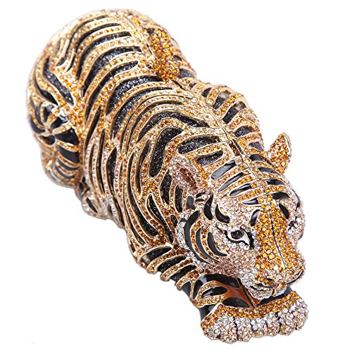 Bonjanvye Tiger Clutch Purse Bling Studded Glitter Clutch Evening Bag Silver gold