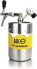 BACOENG 5L Bierzapfanlage für selbstgemachtes Bier- mit Bierausschank, Mini CO2 Regulator und 5L Edelstahlbierfass