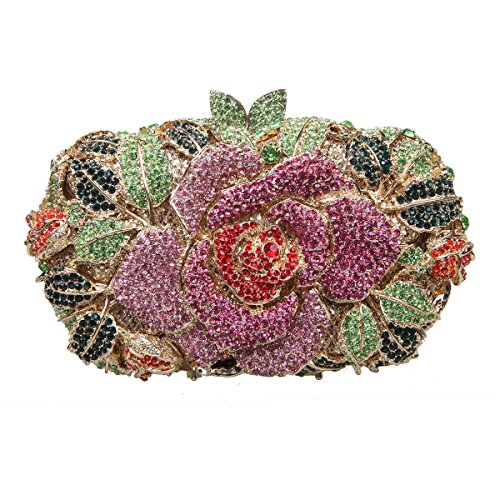 Bonjanvye Shining Studded Rhinestone Rose Flower Clutch Purses and Handbags for Ladies Champagne Multicolor