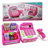 #7: HALO NATION® Supermarket Cash Register Play Set - Educational Pretend Play Food & Supermarket Toys with Working Mic, Scanner & Calculator | Currency Note, Coins & Cards | Grocery to buy - Pink For Girls