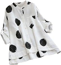 VEMOW Sommer Herbst Elegante Damen Plus Größe Dot Print Lose Baumwolle Casual Täglichen Party Strandurlaub Kurzarm Shirt Vintage Bluse Pulli