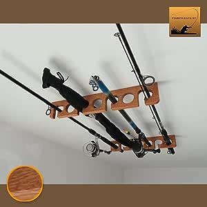 Wooden Fishing Rod HolderRack Ceiling mounted (Ash tree, teak finish)