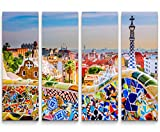 4 teiliges Canvas Bild 4x30x90cm Bunte Mauer in Barcelona