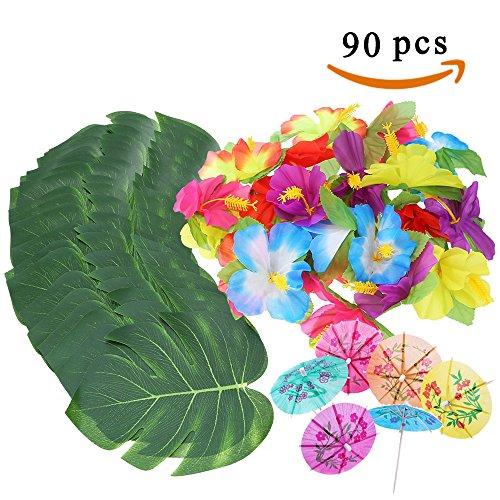 ManYee 90 Stück Hawaiian Tropical Party Dekoration 8