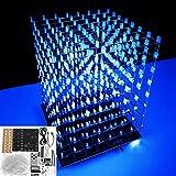 Ils - DIY WiFi App 8x8x8 luz 3D Cube Kit Azul LED MP3 Music Spectrum Kit electróico Sin Vivienda